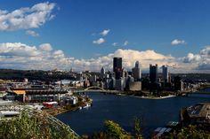 IMG_0630 Pittsburgh Skyline & Three Rivers Stadium  Downtown Pittsburgh and Three Rivers Stadium from Washington lookout point