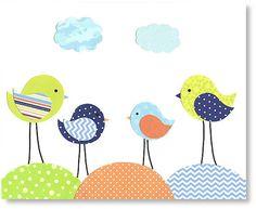 Bird Nursery Art Boy's Room Decor Baby Boy Room Blue Green Orange Navy Nurseryrt Print 8 x 10 or 11 x 14