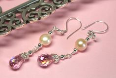 Pink Crystal Silver Pearl Earrings Wire Wrapped by CaveGemstones, $30.00 #pinkcrystal