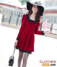 2013 spring Korean ladies doll collar Slim Large size long-sleeved dress -see it more: http://www.clothesgate.com/2013-spring-korean-ladies-slim-large-size-long-sleeved-dress