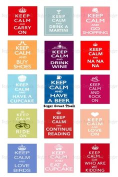 Keep Calm Phrases 1 Inch Square Images 3 sheets