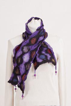 Nuno felted purple, alpaca multi colored, silk , Beech Hill