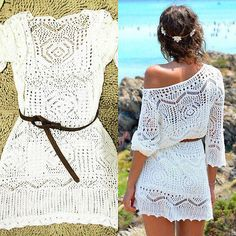 Elegant Sexy Lace Crochet Knit White Swimsuit Beach Cover Up