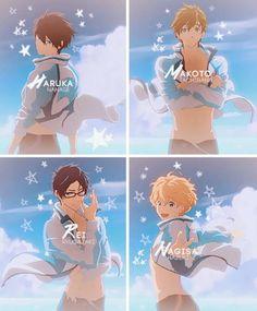 Haruka/Haru, Makoto, Rei, Nagisa, Free! Iwatobi Swim Club