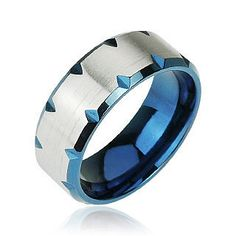 Blue Magma - Deep Blue Faceted Edges Shining Stainless Steel Modern Style Ring. #BuyBlueSteel #BeautifulCuts #BlueRing