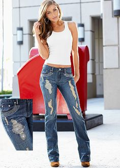 Live out loud with spunk and sparkle. Venus embellished jean.