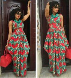View our collection of Long Ankara Gowns. Pictures of The Latest Long Ankara Dress Styles in 2018 African Print Clothing, African Print Dresses, African Fashion Dresses, African Attire, African Wear, African Women, African Dress, African Prints, Ghanaian Fashion