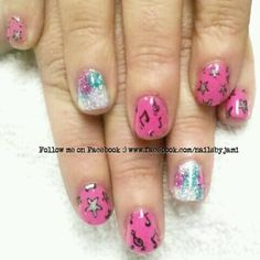 shellac with music notes stars and glitter follow me on facebook! http://www.facebook.com/NailsByJami?ref=hl #nailart #shellac #naildesigns #musicnails #glitternails #blingnails