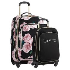 The Emily and Meritt Bed Of Roses Black Cat Luggage Bundle, Set Of 2 Pbteen Teen Luggage, Cute Luggage, Carry On Luggage, Travel Luggage, Luggage Bags, Travel Bags, Luggage Suitcase, Hard Sided Luggage, Underseat Carry On