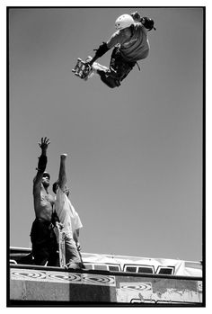Caballero.  Backside air way above Sergie Ventura's head on the Vans Warped Tour in Australia in 1995.  Photo by Steve Gourley.