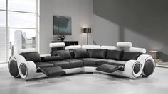 VIG Modern Divani Casa 4087 Black and White Bonded Leather Sectional Sofa. Modern leather sectional sofa in 2 tone colors with cup holder and adjustable footrests. Front leather and back high durability leather match. Gebogenes Sofa, Sectional Sofa With Recliner, Leather Sectional Sofas, Reclining Sectional, Modern Sectional, Recliners, White Sectional, Sectional Furniture, Bedroom Furniture