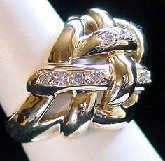 18 Karat Yellow Gold Diamond Basket Weave-Motif Ring (Side View). A Ben Salomonsky Design (BSJ-40). Purchase NOW from Your Preferred e-Commerce Jeweler. www.SalomonskyJewelers.com