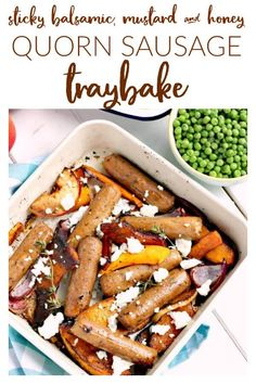 A sticky balsamic, mustard and honey quorn sausage traybake with sweet butternut squash, red onion, apple and crumbled feta Quorn Recipes, Mince Recipes, Sausage Recipes, Veggie Recipes, Vegetarian Recipes, Healthy Recipes, Vegan Recepies, Veggie Dinners, Pescatarian Recipes