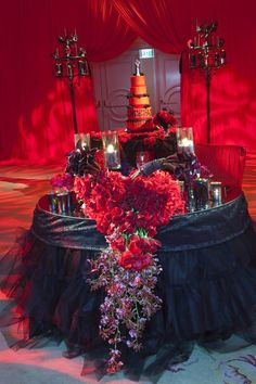 Gothic Wedding Sweetheart Table by Mindy Weiss