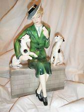 """Extremely RARE Art Deco 10.5"""" Goldscheider Wein DAKON Model 7423 Female & 2 Dogs"""