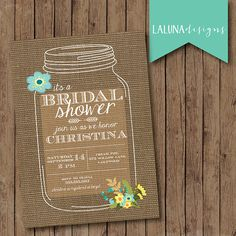 rustic mason jar burlap bridal shower invite floral bridal shower invite diy printable bridal