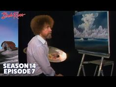 Bob Ross creates palm trees that yield to stiff sea breezes as a sky of ominous clouds loom in the background. Season 14 of The Joy of Painting with Bob Ross. Canvas Painting Tutorials, Painting Lessons, Painting Techniques, Orlando Floride, Bob Ross Youtube, Bob Ross Paintings, Wave Paintings, Landscape Paintings, Bob Ross Art