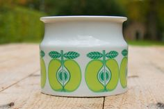 Arabia Finland jampot with green apples by SecondHandSandy on Etsy