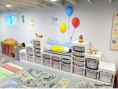 Dream Playroom A Bright Space for Imaginative Play is part of Playroom Organization Modern - Basement playroom ideas that inspire imaginative play for toddlers, preschools, and elementary age kids! Storage and organization ideas & more inspiration! Small Basement Remodel, Modern Basement, Basement Bedrooms, Basement Remodeling, Playroom Organization, Playroom Ideas, Basement Ideas, Basement Decorating, Organization Ideas