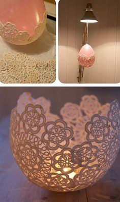 DIY Doilie Candleholder for the tablescape. Make a lace doily candle holder for your weddings, shabby chic home decor, or wherever you would like a nice vintage look.