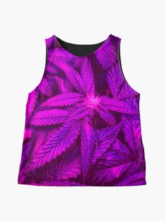Alternate view of Trendy Psychedelic and Cool Cannabis Marijuana Pot Leaves Happy 420 Print Sleeveless Top Purple Outfits, Edgy Outfits, Blouses For Women, Women's Blouses, Edgy Dress, Purple Leggings, Pretty Shirts, Psychedelic, Cannabis