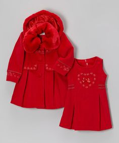 Take a look at this Red Faux Fur Coat & Dress - Toddler & Girls by Bijan Kids on #zulily today!