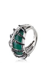 stephen webster green agate and diamonds bones ring