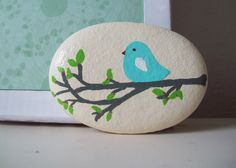 Little Blue Bird Stone by CheeryGiftsAndDecor on Etsy. , via Etsy.