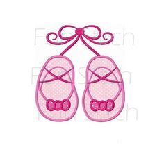 Ballet slippers applique machine embroidery design