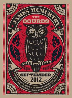 Vintage Graphic Design The Gourds / James Mcmurtry Tour Poster Tour Posters, Band Posters, Music Posters, Vintage Labels, Vintage Posters, Retro Posters, Vintage Graphic, Vintage Type, Graphic Design Typography
