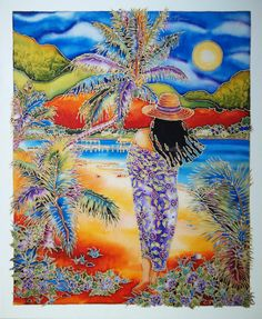 """This is a beautifully created piece by Susan Patricia titled """"Paradise Calls"""" and it is a x on canvas. For more stunning and beautiful pieces like this please contact us or visit our website. Polynesian Art, Hawaiian Art, Caribbean Art, Trippy Wallpaper, Silk Art, Painting People, Impressionist Art, Tropical Art, Art For Art Sake"""