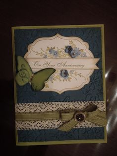 "Stampin' Up! ""Beautiful Wings"" Embosslits Anniversary Card"