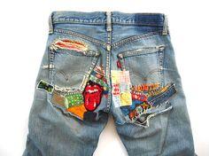 amazing vintage patches on the butt of levis Diy Jeans, Painted Jeans, Painted Clothes, Moda Fashion, Denim Fashion, Diy Clothing, Custom Clothes, Estilo Denim, Denim Art