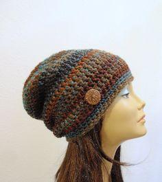 5211083920e Men s Slouchy Beanie Striped Camo Crochet Slouch Beanie Mens Brown ...