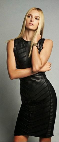 Luv to Look | Luxury Fashion & Style: Elegant black leather dress