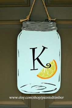 Summer mason jar door hanger personalized by PaintedTimber on Etsy, $40.00