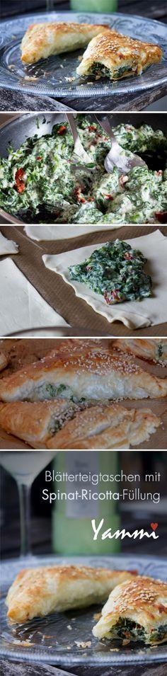 Blätterteigtaschen mit Spinat-Ricotta-Füllung. Filled Pastry with Spinach and Ricotta