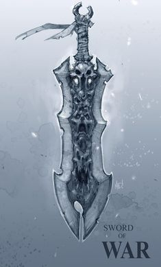 View an image titled 'Sword of War Art' in our Darksiders art gallery featuring official character designs, concept art, and promo pictures. Anime Weapons, Fantasy Weapons, Armor Concept, Weapon Concept Art, Darksiders Horsemen, Darksiders 1, Joe Madureira, Horsemen Of The Apocalypse, Sword Design