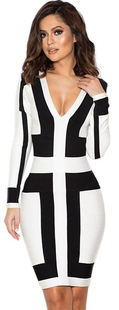 c54662ccc60 Amazon.com: FQHOME Womens Black and White Graphic Print Bandage Dress:  Clothing White