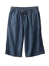 Indigo Shorts With Lace