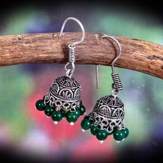 Bollywood Oxidized Silver Plated Light weight green beads Jhumka jhumki Small Earrings for women/Bol Antique Jewellery Designs, Antique Jewelry, Jewelry Design, Fancy Jewellery, Girls Earrings, Small Earrings, Green Earrings, Oxidized Silver, Silver Metal
