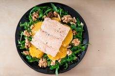 Gestoomde zalm met rucola, walnoten en sinaasappel ♥ Foodness - good food, top products, great health