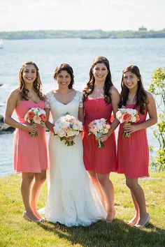 Brides: An Earthy, Elegant Wedding in Newport, Rhode Island. Bridesmaids wear Guava and Coral chiffon. Guava Wedding, Coral Wedding Cakes, Coral Wedding Colors, Summer Wedding Colors, Amsale Bridesmaid, Coral Bridesmaid Dresses, Bridesmaids And Groomsmen, Wedding Dresses, Wedding Bells