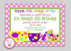 Art Party Invitation  Art Party Birthday by TheTrendyButterfly,