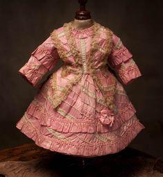 French antique rose silk dress, fits Jumeau Bru doll.