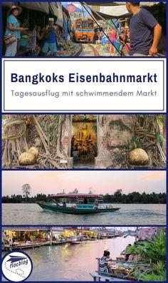 """Du kennst die Bilder: Ein Zug fährt mitten durch den Maeklong Markt in Thailand, """"der gefährlichste Markt der Welt"""". Gefährlich oder nicht, kombiniert mit dem schwimmenden Markt in Amphawa ist dies einer der schönsten Tagesausflüge ab Bangkok. #Thailand #Bangkok #Backpacking #Rucksackreise #Weltreise #Asien #Reisetipps #Tour #Markt #Maeklong #Amphawa #Eisenbahnmarkt #SchwimmenderMarkt #Ausflug"""