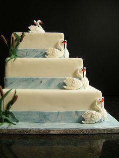 offset swan wedding cake