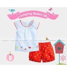 Baju bayi anak branded import Jumping Beans 28 B Tunic Set - Strippy Butterfly