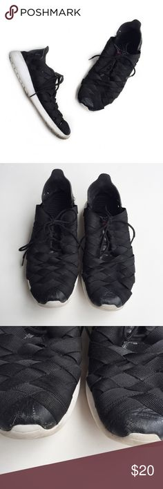 • nike roshe run woven sneakers • in very worn/pre-loved condition. scuffing on front toes. dirt wear to the soles. minor fraying and wear of fabric material and leather.   these run very big and should fit a size 9-9.5. i am an 8.5 and these are quite big on me. Nike Shoes Sneakers