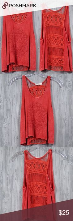 Urban Outfitters Red Embroidery Tank Top Small Beautiful reddish orange tank by Basil & Lola ( Urban Outfitters brand ). Gently used. Very pretty back embroidery. Tops Tank Tops